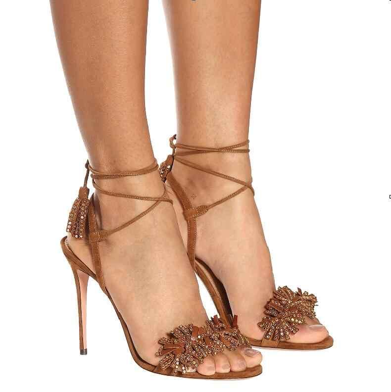 Sıcak Seksi Kahverengi Hakiki Deri Ayak Bileği Kayışı Ayakkabı Peep Toe Ince Topuklu Geri Kayış kadın ayakkabısı Fringe Dantel-Up Bayanlar sandalet