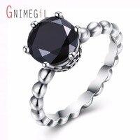GNIMEGIL Großhandel Einzelhandel 925 Sterling Silber Klassische Schwarz Zirkon Ringe Für Frauen Silber Perle Ringe Fest-braut Ring Schmuck