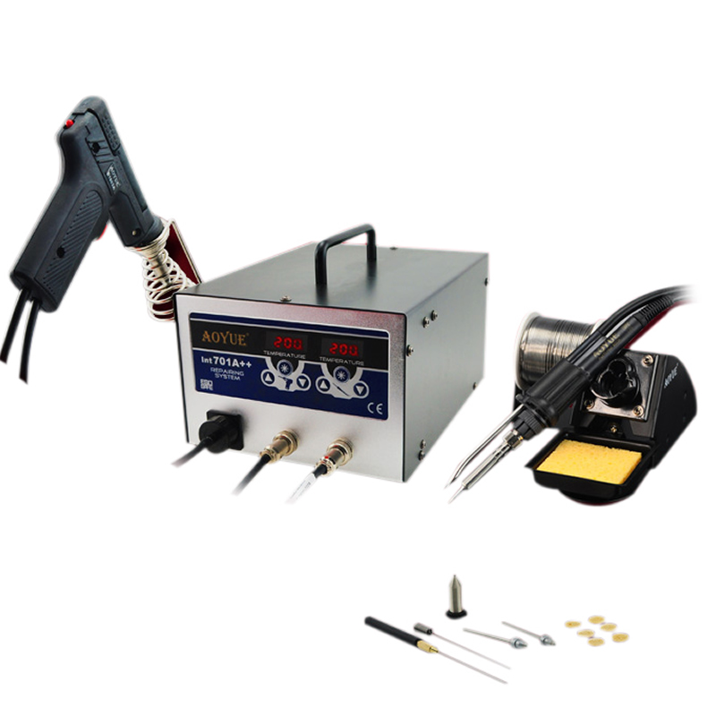 220V <font><b>AOYUE</b></font> <font><b>701A</b></font>+ BGA Soldering Station 3 in 1 Function 60W Sucker Smoker 35W Iron image