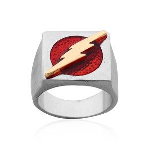 Супергероя («флэш» кольцо для мужчин с золотым осветительной вспышкой логотип кольцо кино, комикс вечерние Броши с красной эмалью в виде ко...