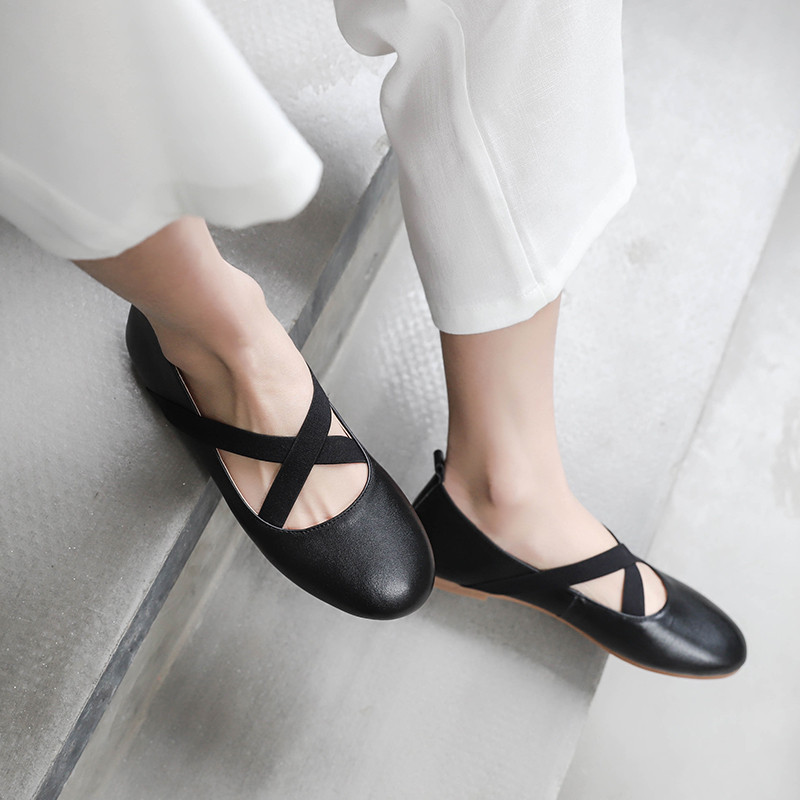 YMECHIC 2019 Black Beige Womens Flats Elastic Band Cross Strap Mary Jane Ballet Flat Shoes Woman