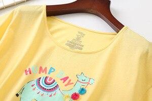 Image 3 - 새로운 2019 여름 여성 잠옷 면화 귀여운 인쇄 알파카 잠옷 세트 탑 + 카프리 탄성 허리 플러스 크기 3XL 라운지 pijamas S92902
