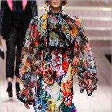 Runway Designer 2019 Spring New high street bow floral blouses women vintage shirt flare sleeves flowers print top ladies blusas