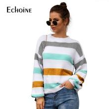 купить Casual Rainbow Striped lantern sleeve Sweater Women 2019 Fall Winter Long Sleeve Knit Loose Pullovers Jumper Oversized Sweaters по цене 1036.73 рублей