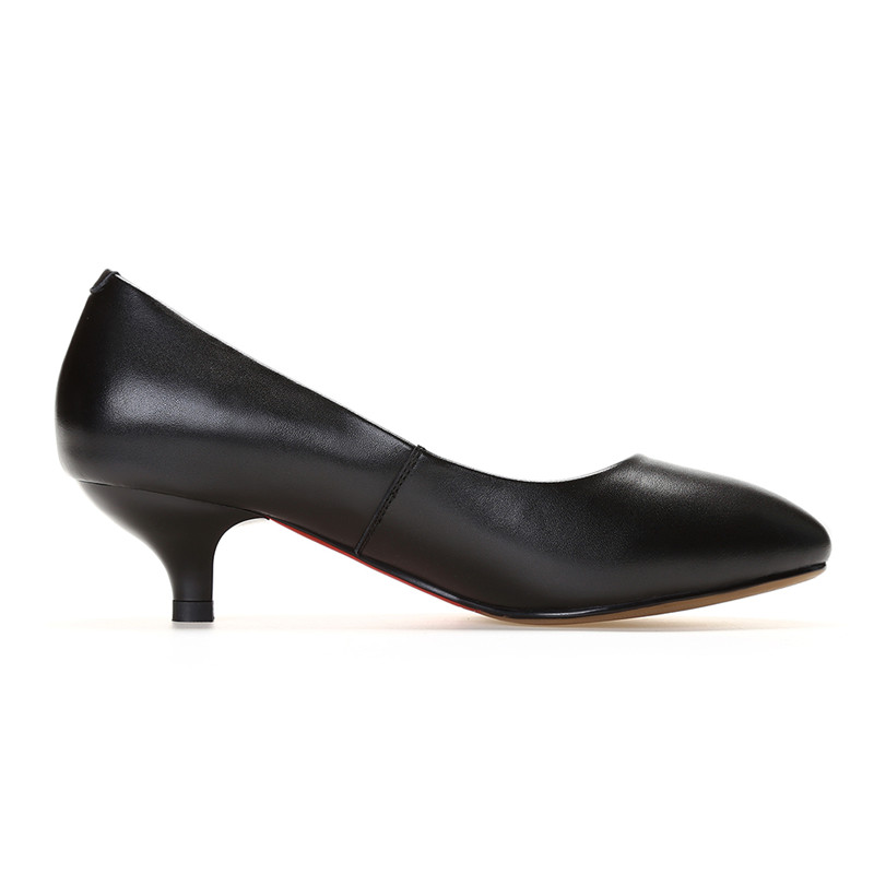 0dae4febfd5 Odetina 2017 Ladies Elegant Genuine Leather Kitten Heel Dress Pumps Work  Shoes for Women Mid Heel Pumps Pointed Toe Big Size 42-in Women s Pumps  from Shoes ...