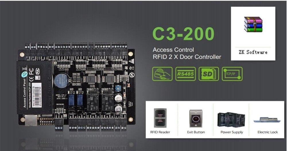 ZK C3 200 Two Doors Access Control Panel Door Access Control System Access Control Board with TCP/IP Free Software