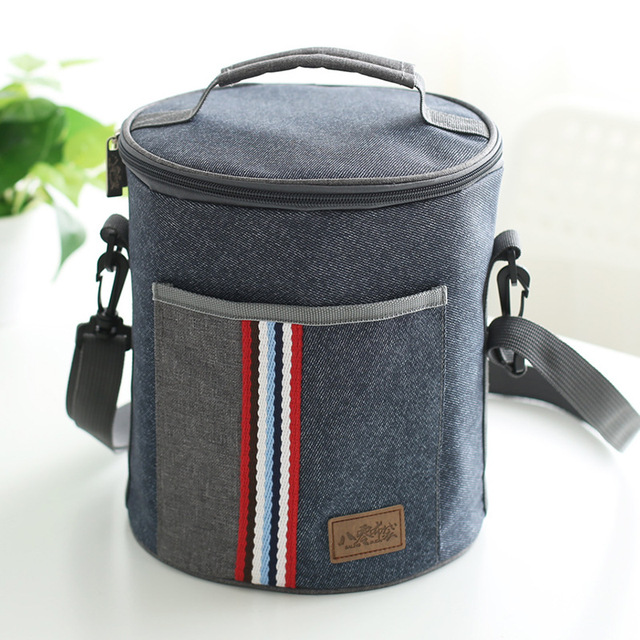 New Fashion Cylindrical Thermal Lunch Bag Cooler Thermo Insulated Food Picnic Kids Men And
