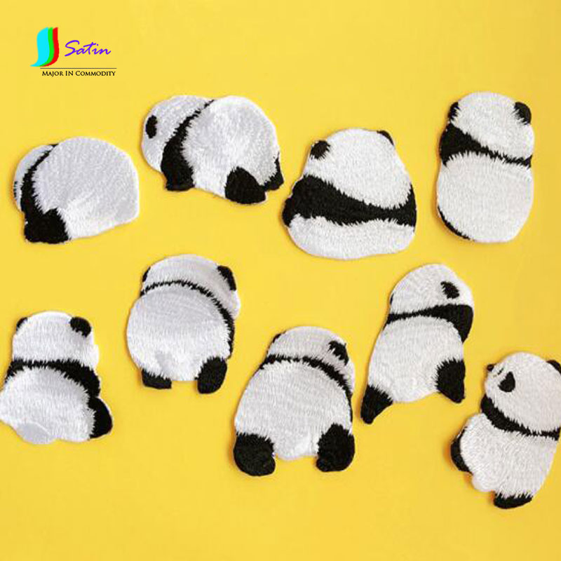 Lovely Cute Contracted Panda Embroidery Cloth Patch Decoration Clothing Ironing Diy Hand Patch Holes 5pcs/lot A0046m Matching In Colour