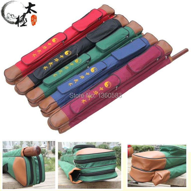 New Double layers tai chi multifunctional sword bag , lengthen is 108cm,having stick bag,thickening sword bags free shipping цена