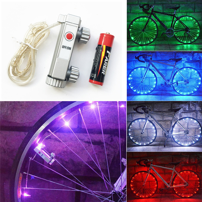 Multi-Color Bike Bicycle Cycling Wheel Tire Tyre LED Flash Lamp Bicycle Spoke Safety Warning Light bike spoke decorations M25 40 pattern led bike spoke light front wheel mount