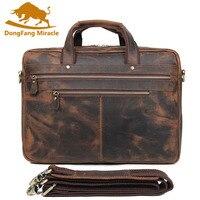 Бренд Топ Crazy Horse кожаный мужской деловой портфель большой емкости сумка многослойная 17 дюймов чехол для ноутбука для путешествий Сумки