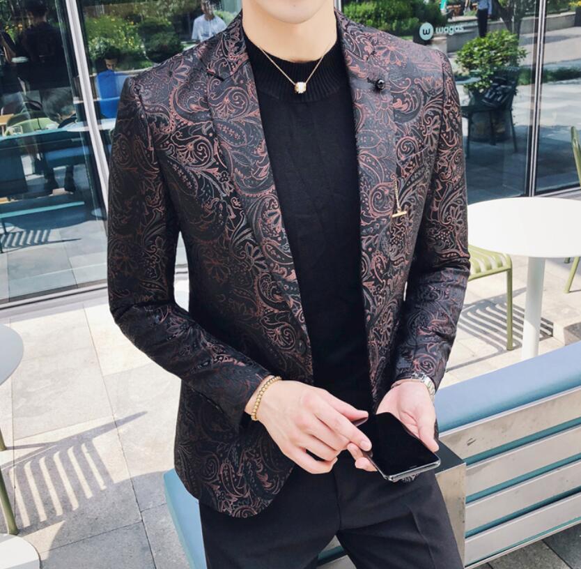 Baroque Blazer Hombre Estampado Mens Fancy Blazer Masculino Slim Fit Stylish Blazer Smoking Party Prom Wedding Blazer Men 4xl