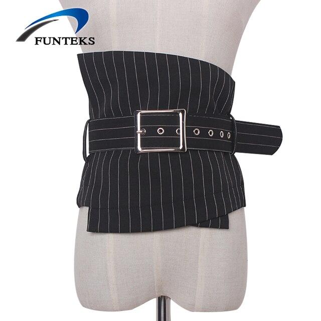 eb58f721f Funteks rayas cinturones anchos para las mujeres ajustable Pasadores  hebilla Correa vestido elegante femenino de las