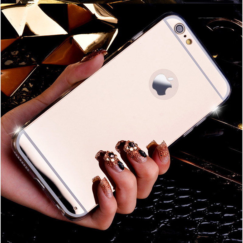 Luxury Soft Clear TPU Mirror Case For iphone 7 Plus 6 6S Plus 5 5s SE Back Cover Bag Electroplating Capa for iphone Fundas Coque