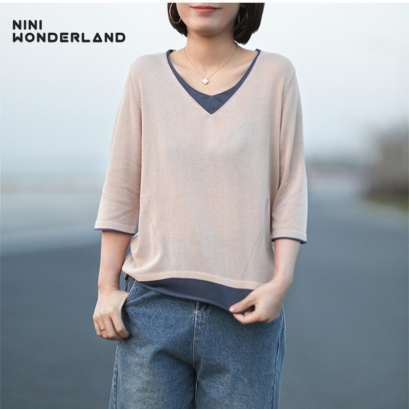 NINI WONDERLAND 2019 Autumn Knit Pullovers Sweaters Women Patchwork Cotton Linen Knit Sweater Loose Casual Tops Female Big Size
