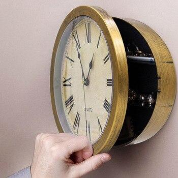Wanduhr Safe Kreative Vintage Versteckte Geheimnis Lagerung Box für Cash Money Schmuck Home Office Sicherheit Uhr Stil Safes
