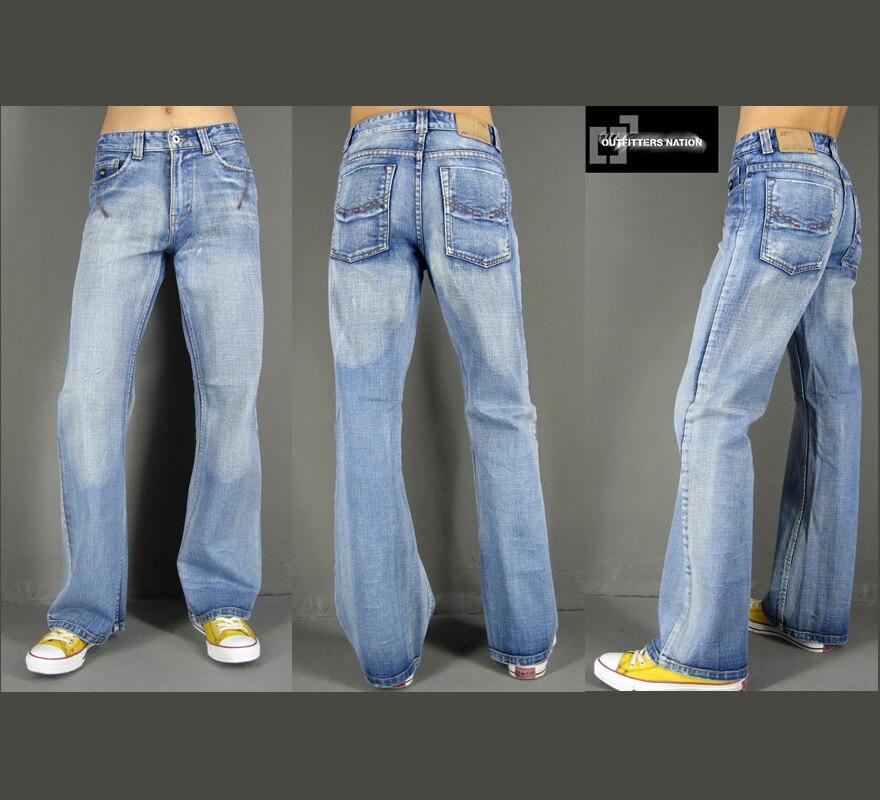 Online Shop Bell bottom jeans male blue nostalgic vintage fashion ...