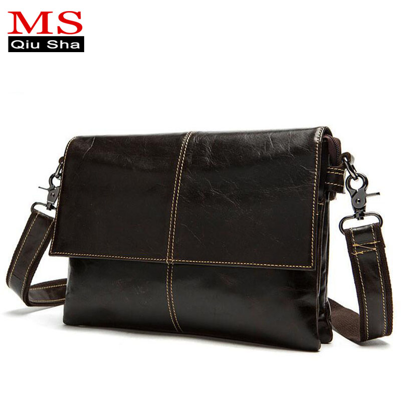 MS.QIUSHA Genuine leather bag men Crossbody Shoulder Messenger Bags casual briefcase brand vintage business Men's Travel Bags genuine leather men shoulder bags brown black business messenger bag vintage multifunction casual travel crossbody pack rucksack