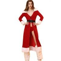 סקסי אדום חג המולד סנטה קלאוס שמלות קוספליי שווי החורף ארוך סטי תחפושות ליל כל הקדושים לנשים ליידי 3 יחידות EH513