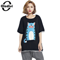 Oladivi Plus Size Women Clothing Fashion Animal Print Casual T Shirt Loose Short Shirts 2017 Summer