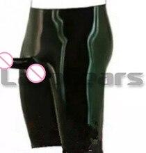 Man Black Latex Long Leg Boxer Shorts With Anatomical Penis Sheath Rubber Underwear Pants Penis Condom Plus Size