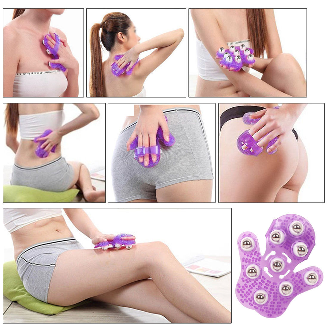 Roller Ball Body Massage Glove Anti-Cellulite Muscle Pain Relief Relax Massager For Neck Back Shoulder Buttocks Face Lift Tools