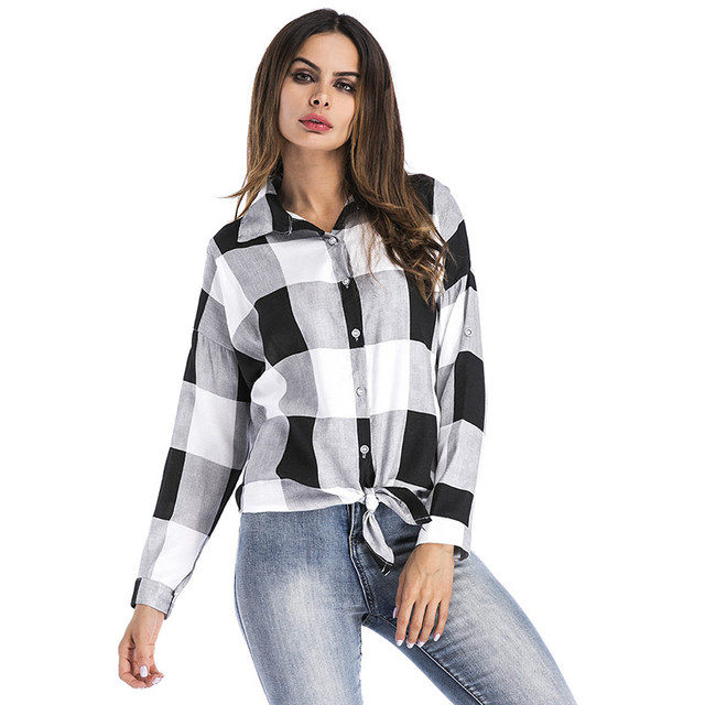 792bedfbfb6673 Plaid Blouse Women Front Lace up Shirts Long sleeve Casual Tops Button Turn- down Collar Blusas 2019 Spring Autumn Shirts