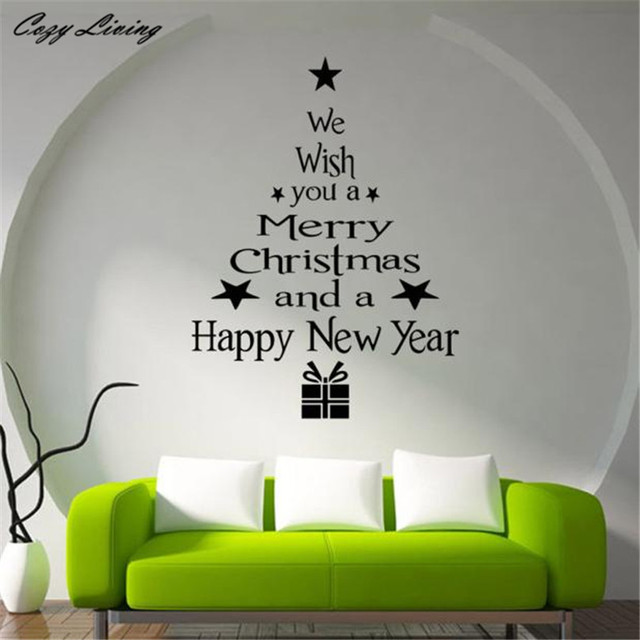 Christmas Tree Letters Stick Wall Art Decal Mural Home Room Decor
