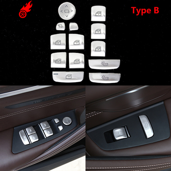 Silver For BMW 5 Series G30 G38 2017 2018 Car Styling Door Window Lift Button Cover Trim Sticker Accessories