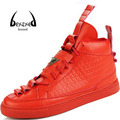[Bexzxed] Marca de Alta Superior Zapatos de Diseñador de Los Hombres Suede Leather Lace Up Casual Fashion Zapatos Masculinos Calzado Red Bottoms