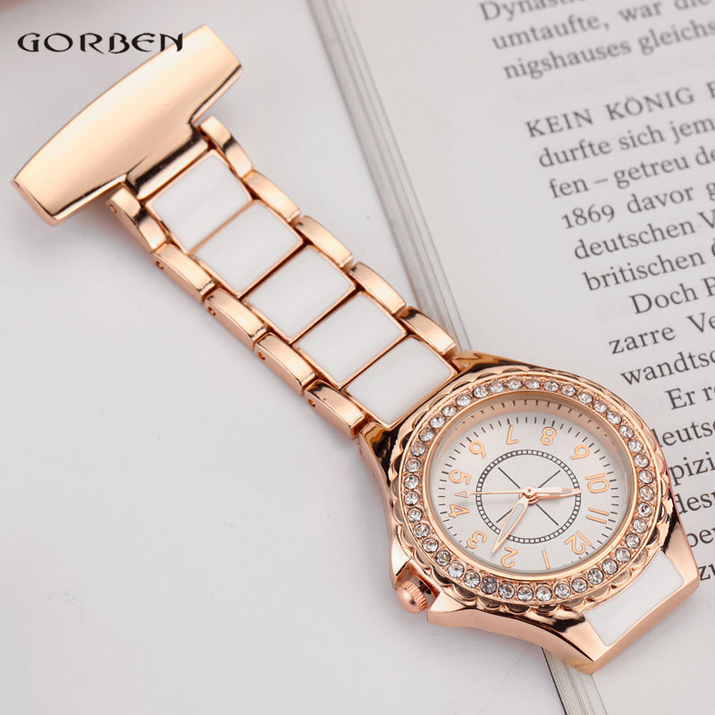 Fashion Crystal Rose Gold Nurse Clip-on Pocket Watch Analog Brooch Elegant Steel Women Men Quartz Luxury Nurses Watch FOB Gifts