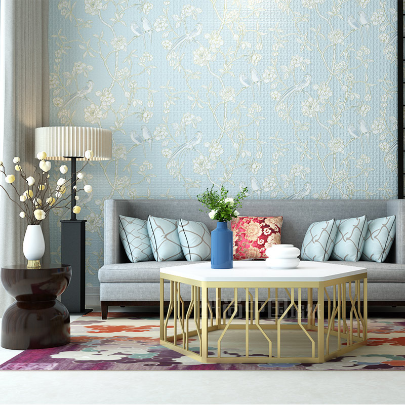 Chinese Style Bird Flower Wallpapers for Living Room Bedroom Walls 3D Non-woven Wall Paper Roll Blue Khaki Red Beige papel mural non woven bubble butterfly wallpaper design modern pastoral flock 3d circle wall paper for living room background walls 10m roll