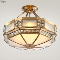Europe Lustre Crystal Led Chandeliers Lighting Fixtures Copper Bedroom Led Pendant Chandelier Lights Hanging Light Luminarias