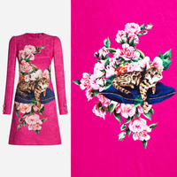 1.5meter Fashion Week Animal Cat on Cushion Cover Flowers Hot Pink Jacquard Fabric for Woman Autumn Winter Dresses DIY