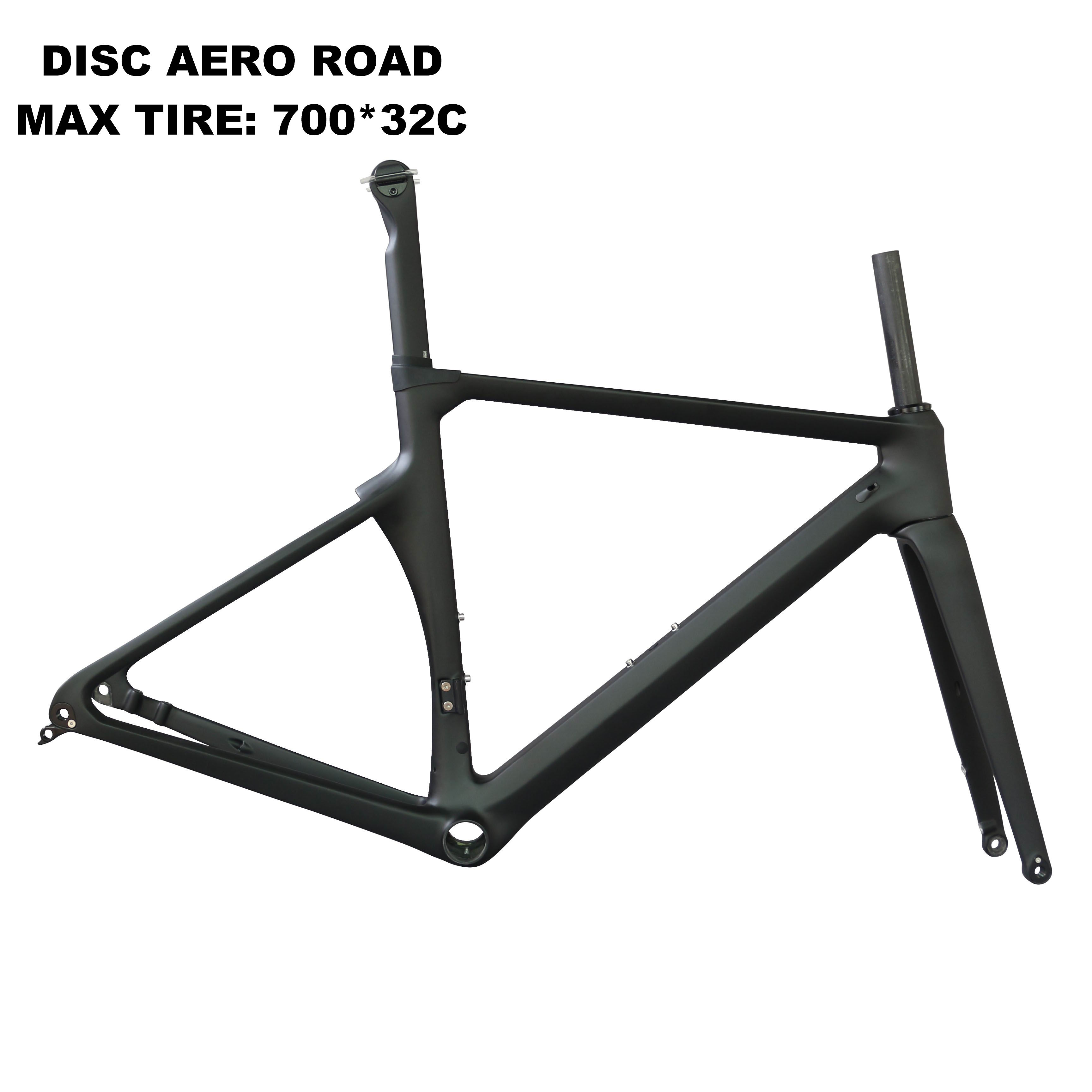 Aero Disc Road Carbon Frame Toray T800 Carbon Fiber Max Tire 700*32C Road Racing Frame TT-x16 Accept Customized Design