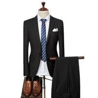 (Jacket+Pants) 2018 Single button Men Suits Fashion wool Men's Slim Fit business wedding Suit men Wedding suit 6 colors