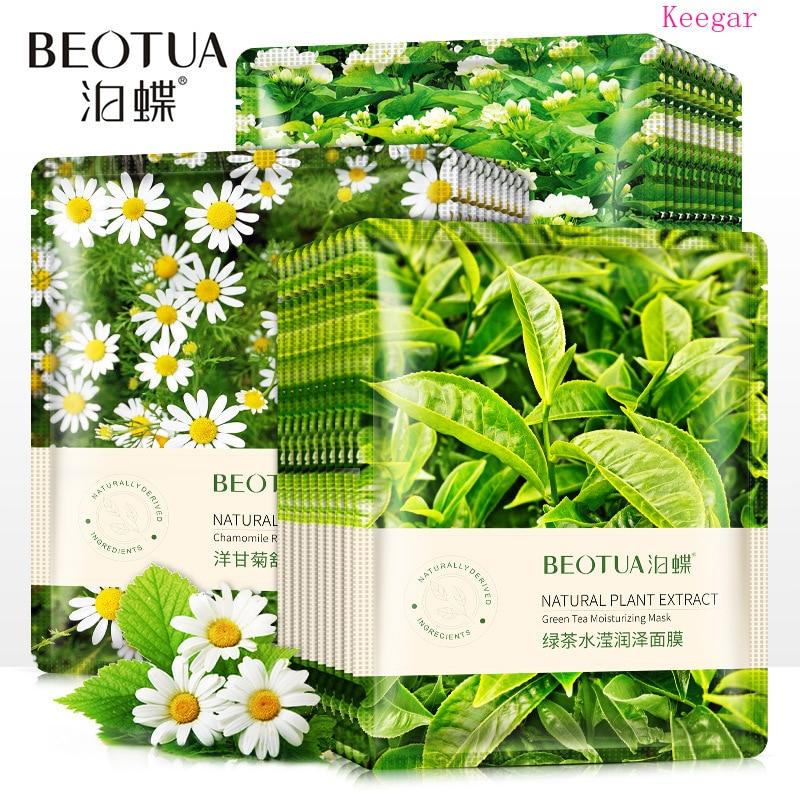 BEOTUA Green Tea Moisturizing Facial Masks Firming Renewal Skin Whitening Shrinking Pore Acne Treatment Face Mask Skin Care