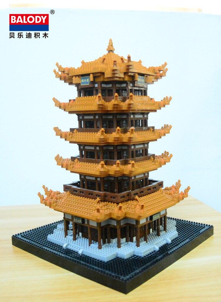 Chinese traditional pavilion model diamond bricks Yellow Crane Tower building blocks toys children s DIY for