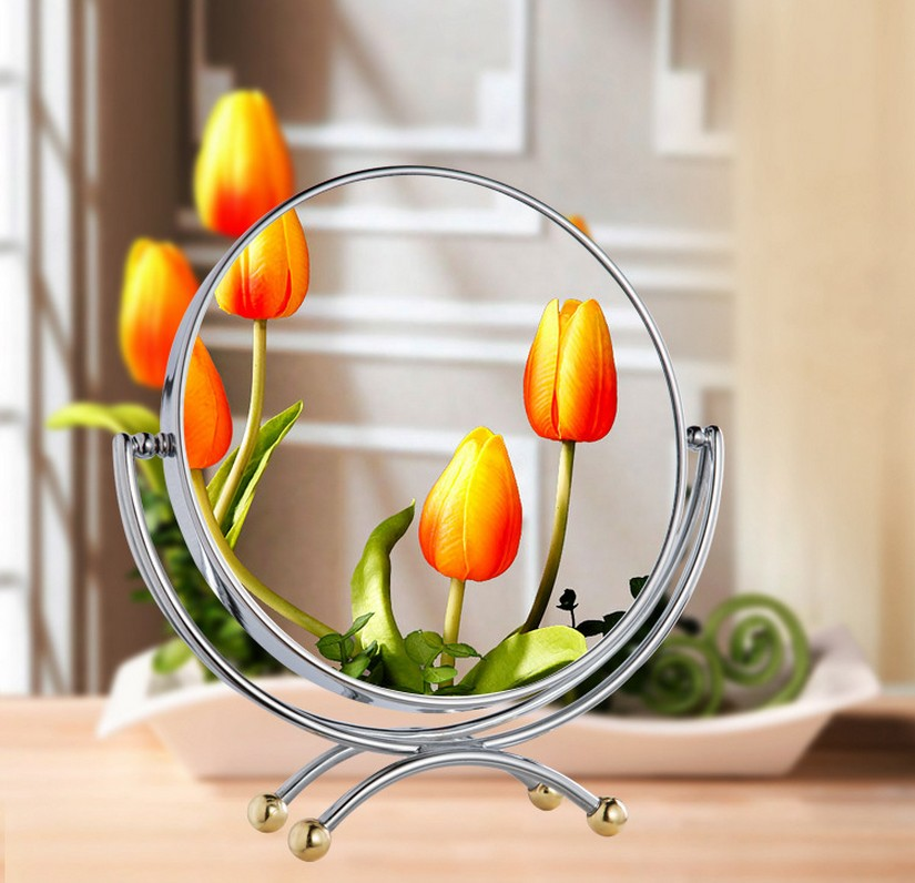 7 inch fashion high-definition desktop makeup mirror 2-Face metal bathroom mirror 3X magnifying Rotate 360 degrees cosmetic