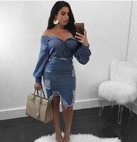 New Sexy Women Turndown Collar Broken Holes Torn Edges Blue Denim Two piece Skirt Set Slinky Distressed Top Skirt Set