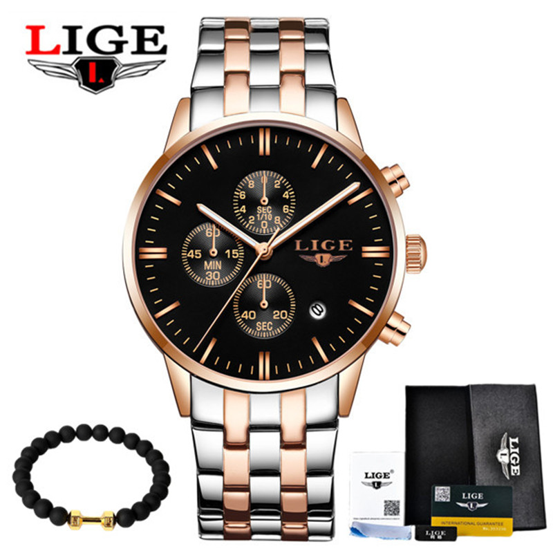 Watch Men Luxury Brand LIGE 2017 Men's Fashion Sports Waterproof Watches Chronograph Leather Quartz Wristwatch Relogio Masculino new listing men watch luxury brand watches quartz clock fashion leather belts watch cheap sports wristwatch relogio male gift