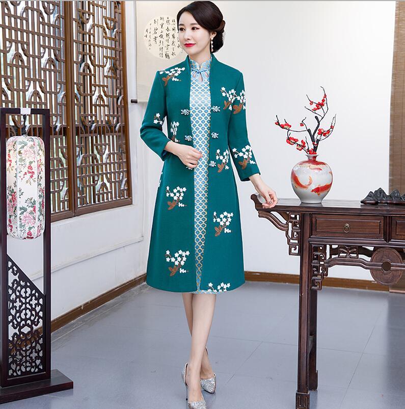 Новое поступление осень зима Китайская традиционная Женская 2 шт Qipao шерсть чеонгсам Новинка китайское торжественное платье Размер M L XL XXL - Цвет: 0872