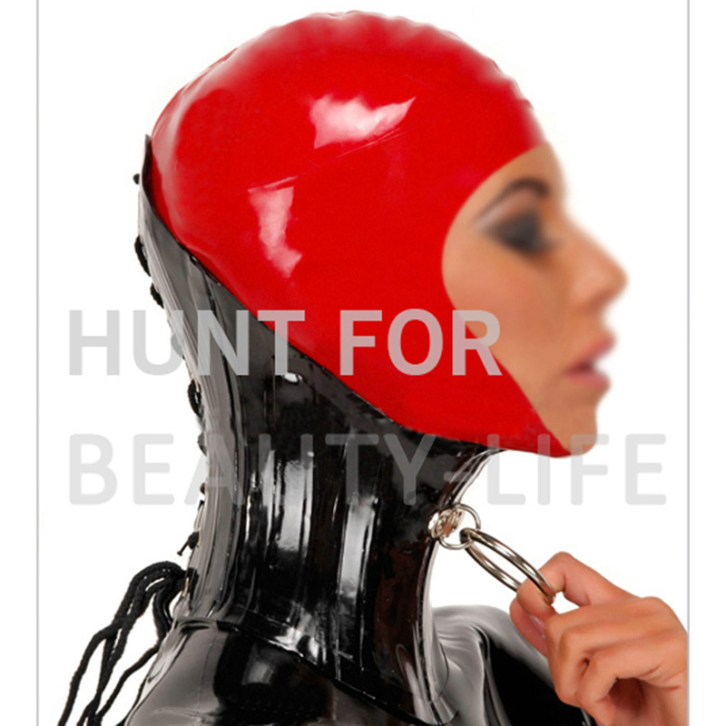 Latex Neck Corset With Metal Ring Half Cover Hood Mask Fetish Sexy Unisex  Headwear Hats Bondage
