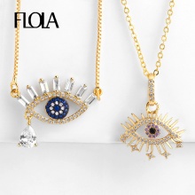 FLOLA Turkish Evil Eye Necklace Gold  Cubic Zirconia Greek Blue Pendant Fashion Jewelry Womens Accessories nkep31