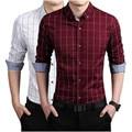 2016 Новая Осень Мода Высокое качество Мужчины Одежда Slim Fit Мужчины с длинным Рукавом Рубашки Мужчины Плед Хлопок Повседневная Мужчины Рубашка Социальный Плюс