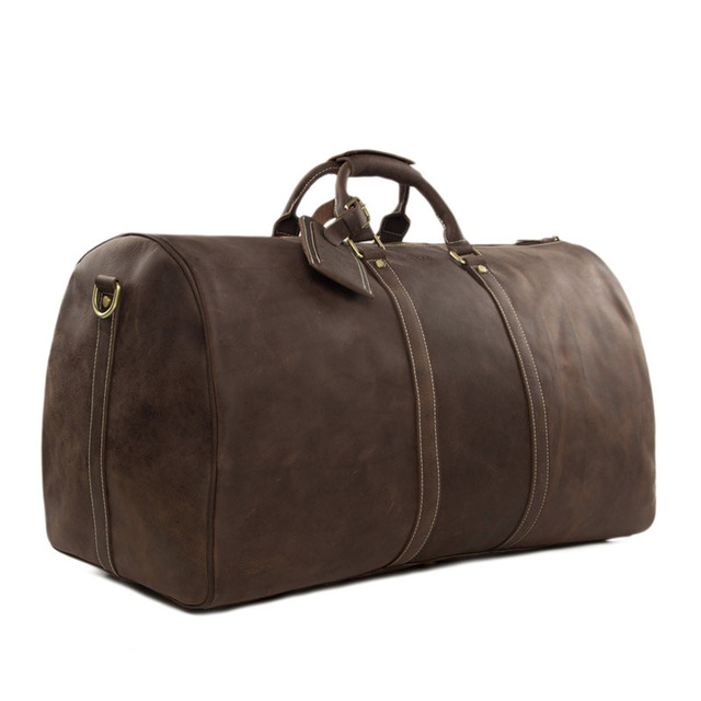 3f7fed1297 ROCKCOW Large Vintage Retro Look Genuine Leather Duffle Bag Weekend Bag  Men s Handbag 12027