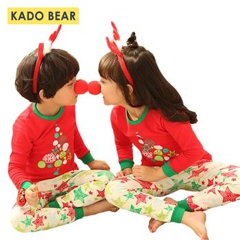 4d24adca3 Conjunto de Pijamas de Navidad para niños ropa de dormir de algodón para  Niñas Ropa interior de bebé niño Pijamas de dibujos animados otoño Pijamas  ropa de ...