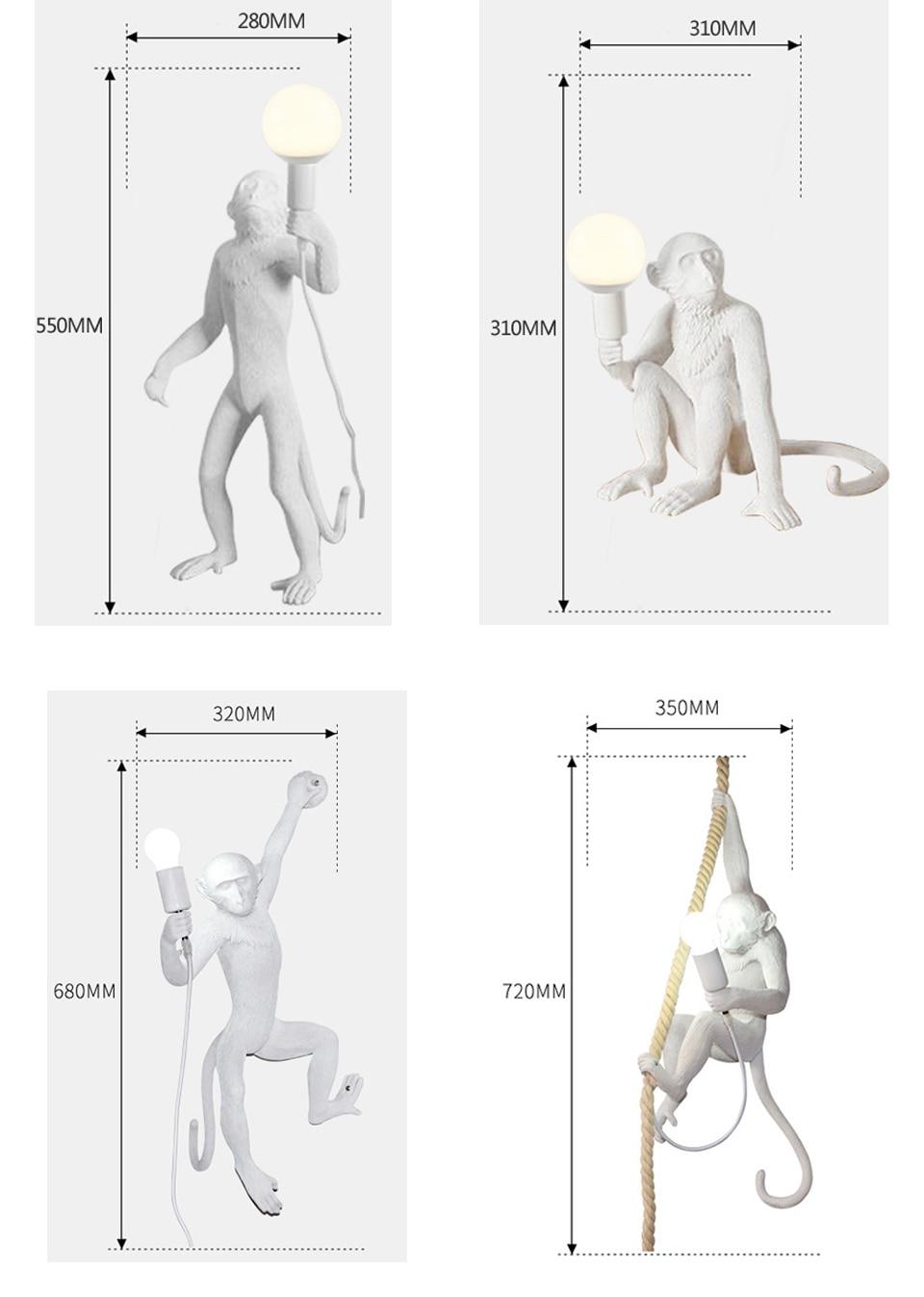 Современная черная, белая, Золотая лампа в форме обезьяны, подвесные светильники, художественный салон, подвесной светильник для кабинета, ... - 6
