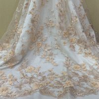 2019 African lace beaded fabric African high quality lace embroidered fabric for dress dress JH0485