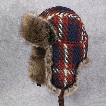 Los hombres mujeres bombardero sombreros de invierno de piel de conejo  aviador tapa gorrita tejida Nieve Ruso Ushanka de punto de lana soldado  sombrero 272716c9b20